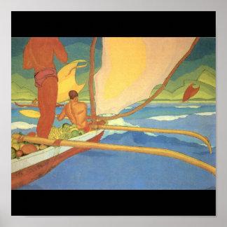 Hombres en una canoa de soporte dirigida hacia ori póster