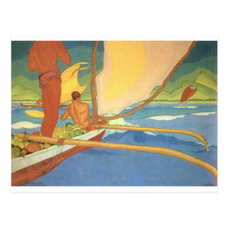 Hombres en una canoa de soporte dirigida hacia postales