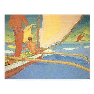 """""""Hombres en una canoa de soporte dirigida hacia Sh Tarjetas Postales"""