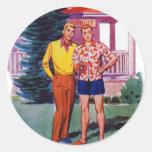 Hombres gay retros 50s Bob y Rob del vintage Etiquetas Redondas