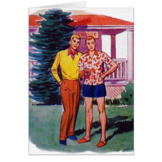 Hombres gay retros 50s Bob y Rob del vintage Tarjeta De Felicitación