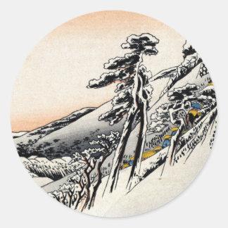 Hombres japoneses y Snowscape no 1 Pegatina Redonda