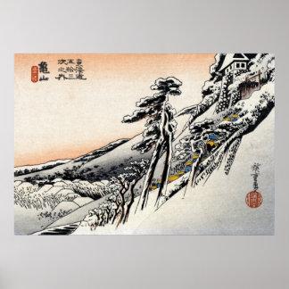 Hombres japoneses y Snowscape no.1 Póster