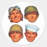 Hombres militares de la fuerza aérea de los pegatina redonda