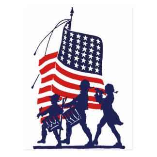 Hombres minuciosos y bandera americana