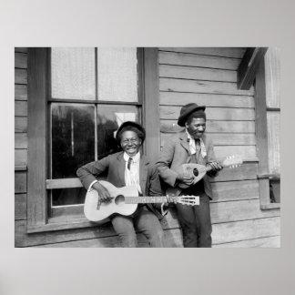 Hombres negros que tocan a Guitar, 1902 Póster