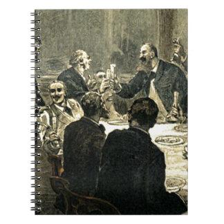 Hombres que beben en el ejemplo del vintage del libretas