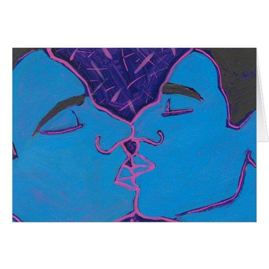 Hombres que besan el azul tarjeta de felicitación