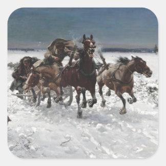 Hombres que cazan lobos en nieve calcomanías cuadradas