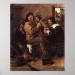 Hombres que fuman de Adriaen Brouwer Poster