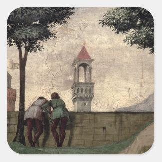 Hombres que miran sobre una pared, del Visitation Pegatina Cuadrada