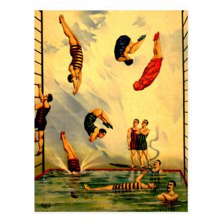 Hombres que se zambullen en el poster 1898 del postal