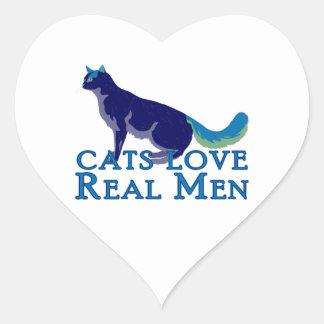 Hombres reales del amor de los gatos pegatinas corazon personalizadas