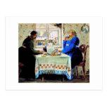 Hombres rusos en el té postales