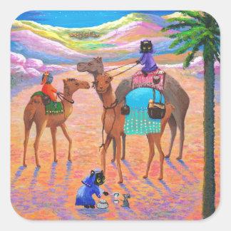 Hombres sabios Creationarts del gato del camello Pegatina Cuadrada