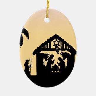 Hombres sabios de la silueta de la natividad en el ornamentos de navidad