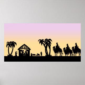 Hombres sabios de la silueta de la natividad en el póster
