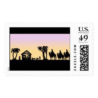 Hombres sabios de la silueta de la natividad en el timbres postales