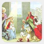 Hombres sabios en la natividad calcomanías cuadradass personalizadas