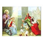 Hombres sabios en la natividad postales