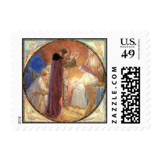 Hombres sabios que adoran al niño de Cristo Sello Postal