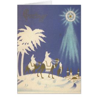 Hombres sabios religiosos del navidad del vintage tarjeta de felicitación