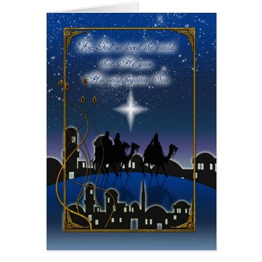Hombres sabios y Belén de la tarjeta de Navidad tr