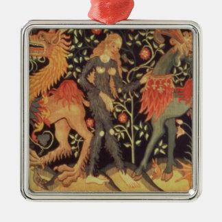 Hombres salvajes y animales, tapicería, siglo XV Ornamento Para Arbol De Navidad