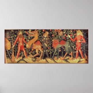 Hombres salvajes y animales, tapicería, siglo XV Póster