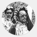Hombres tibetanos pegatinas redondas