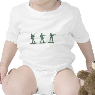 Hombres verdes del ejército traje de bebé