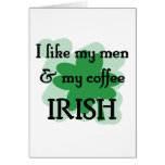 hombres y café tarjeta
