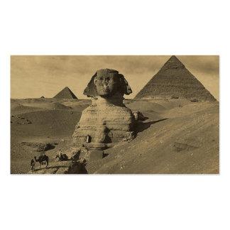 Hombres y camellos en la pata de la esfinge, pirám plantilla de tarjeta de negocio