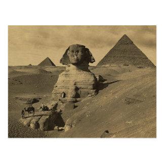 Hombres y camellos en la pata de la esfinge, tarjeta postal