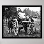 Hombres y cañón en los robles justos, acampamento  impresiones