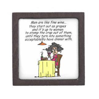 Hombres y humor del vino fino caja de recuerdo de calidad