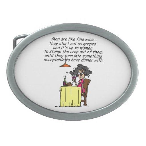 Hombres y humor del vino fino hebillas cinturón ovales