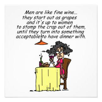 Hombres y humor del vino fino invitacion personalizada