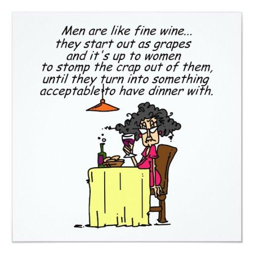Hombres y humor del vino fino invitación 13,3 cm x 13,3cm