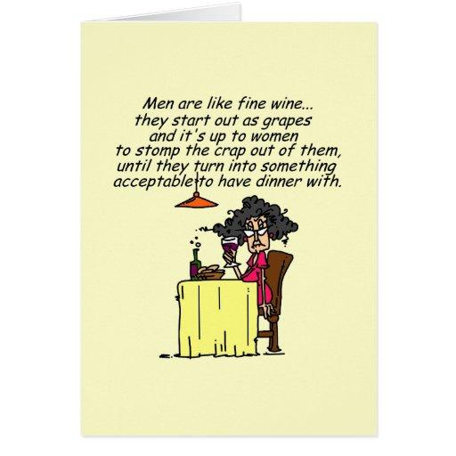 Hombres y humor del vino fino tarjetas