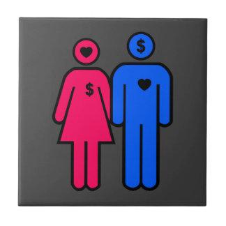 Hombres y mujeres azulejo cuadrado pequeño