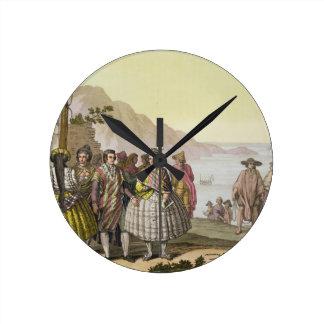 Hombres y mujeres en el traje elaborado, Chile, de Relojes De Pared