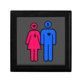 Hombres y mujeres joyero cuadrado pequeño