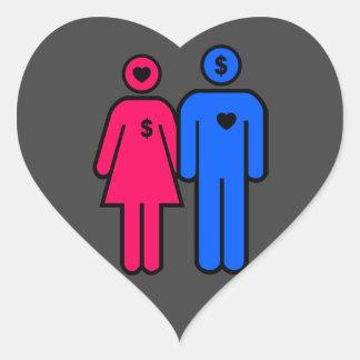 Hombres y mujeres pegatina en forma de corazón