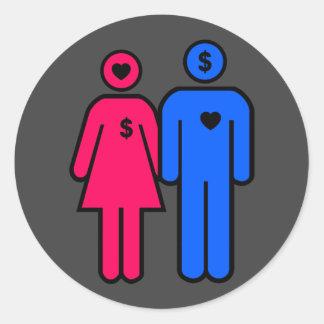 Hombres y mujeres pegatina redonda