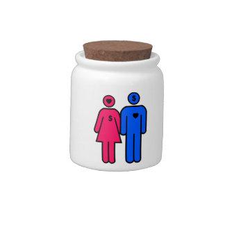Hombres y mujeres platos para caramelos