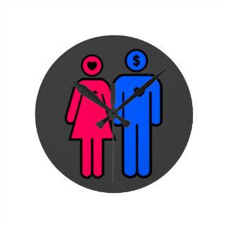 Hombres y mujeres reloj redondo mediano