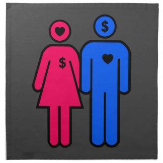 Hombres y mujeres servilletas imprimidas