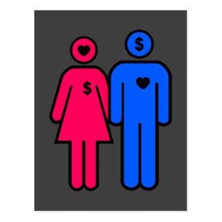 Hombres y mujeres tarjetas postales