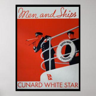 Hombres y poster de Queen Mary de las naves Póster